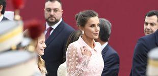 Post de La reina Letizia, vestida de seda: su romántico vestido para el Día Nacional