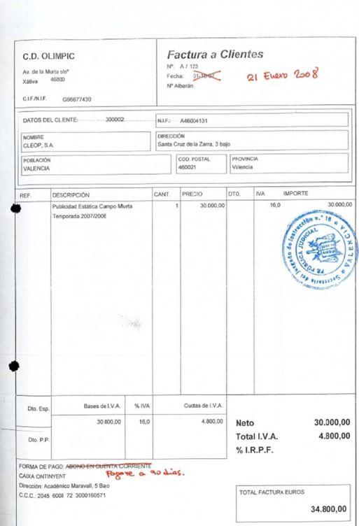 Una de las facturas de los pagos de Cleop al Olímpic de Xàtiva.