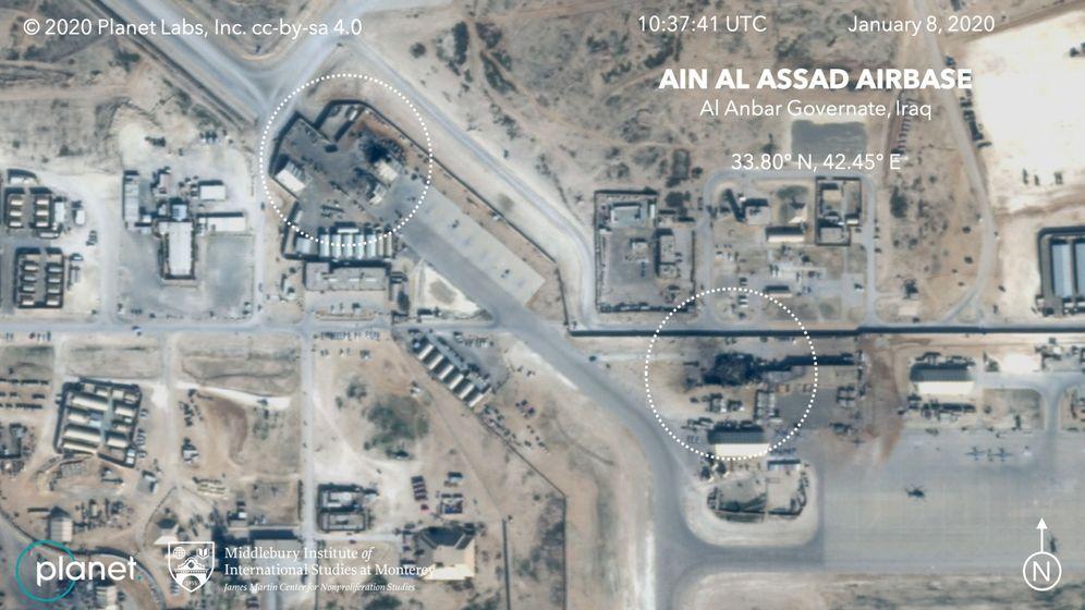 Foto: Imagen por satélite de los edificios dañados y derruidos en Al Asad en Irak, una de las bases que atacó Irán con misiles el 8 de enero. (EFE)