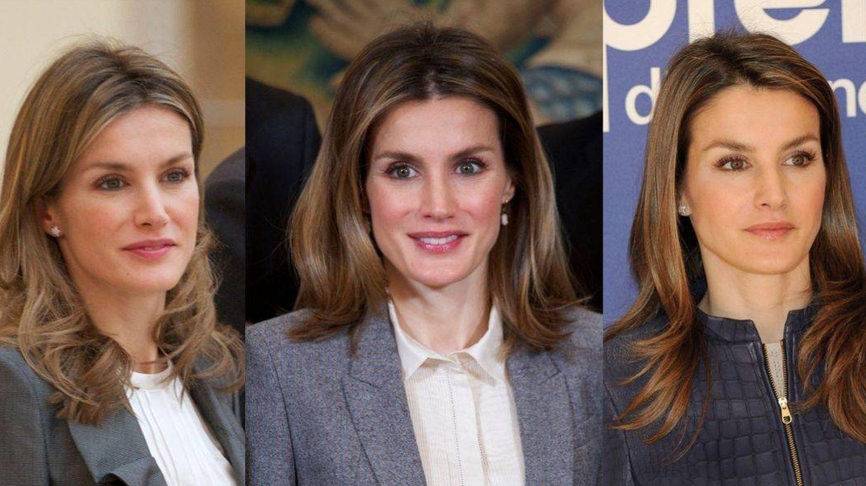 El peinado estrella de la reina Letizia en 2011, 2012 y 2013. (Getty)