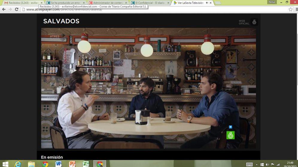 Foto: Un momento del encuentro entre Pablo Iglesias y Albert Rivera en 'laSexta'