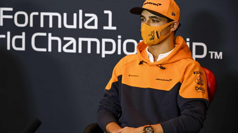 Lando Norris en la rueda prensa del Gran Premio de Emilia-Romaña. (EFE)