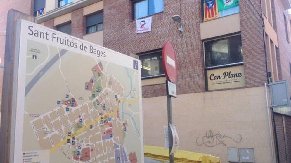 Foto: Cartel de bienvenida a Sant Fruitós. (D.B.)