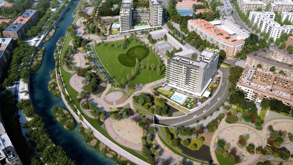 Foto: Vista aérea del ámbito Mahou-Calderón con los proyectos de Azora.