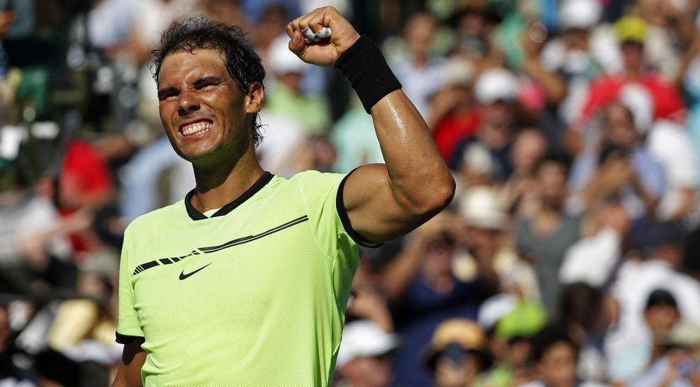 Foto: Rafa Nadal firmó un sólido partido ante Mahut y se clasificó para los cuartos de final en Miami. (EFE)