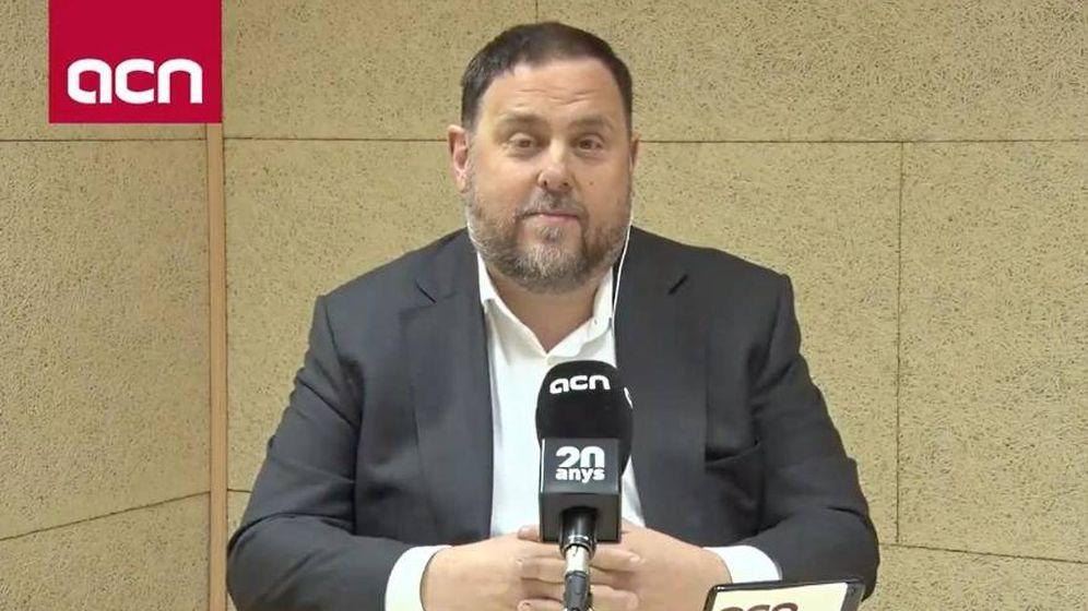 Foto: Oriol Junqueras, durante su entrevista desde la cárcel de Soto del Real. (ACN)