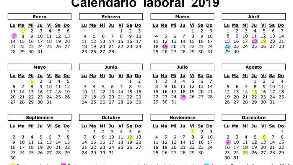 Calendario laboral de 2019: 8 festivos nacionales y solo un gran puente... en agosto