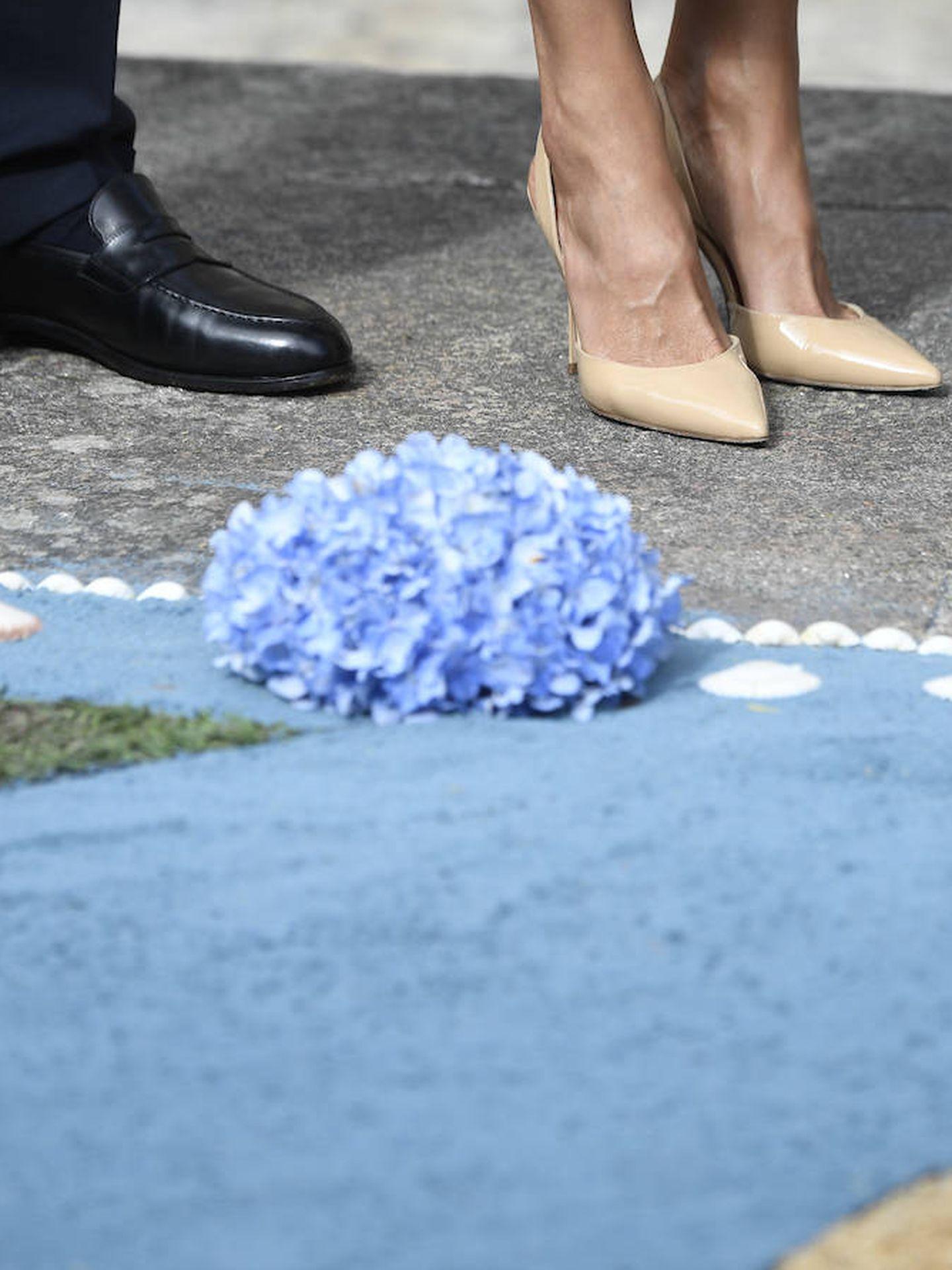 Detalle de los zapatos de Letizia, unos salones destalonados de Carolina Herrera. (Limited Pictures)