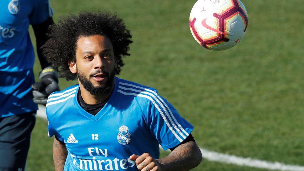Foto: Marcelo, durante un entrenamiento del Real Madrid en la Ciudad Deportiva de Valdebebas. (EFE)