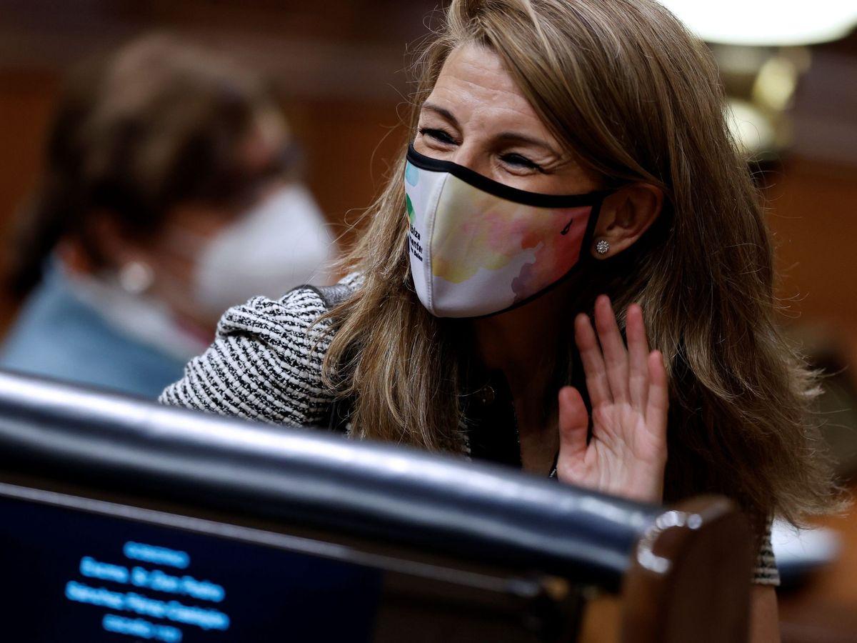 Foto: La ministra de Trabajo, Yolanda Díaz, en el Congreso de los Diputados. (EFE)