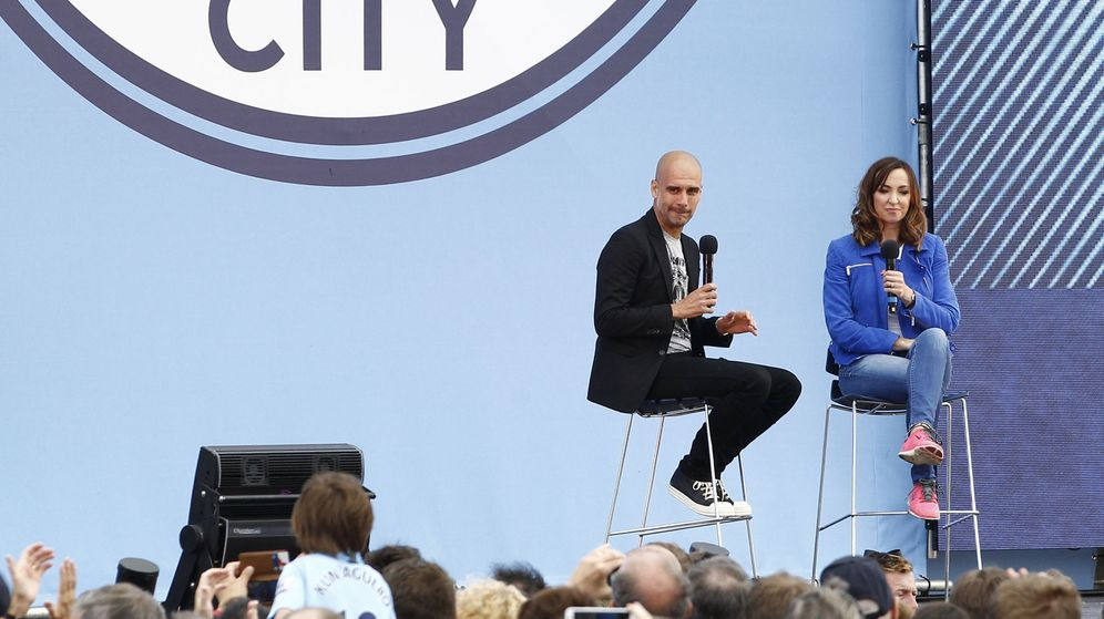 Foto: Pep Guardiola, durante el acto de su presentación como entrenador del Manchester City. (Reuters)