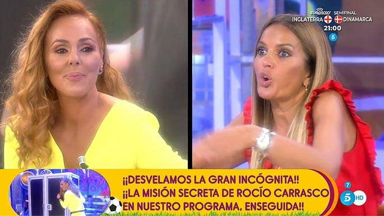 Rocío Carrasco y Marta López, en 'Sálvame'. (Telecinco)