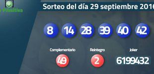 Post de  Resultados del sorteo de la Primitiva del 29 septiembre 2016: números 8, 14, 28, 39, 40, 42