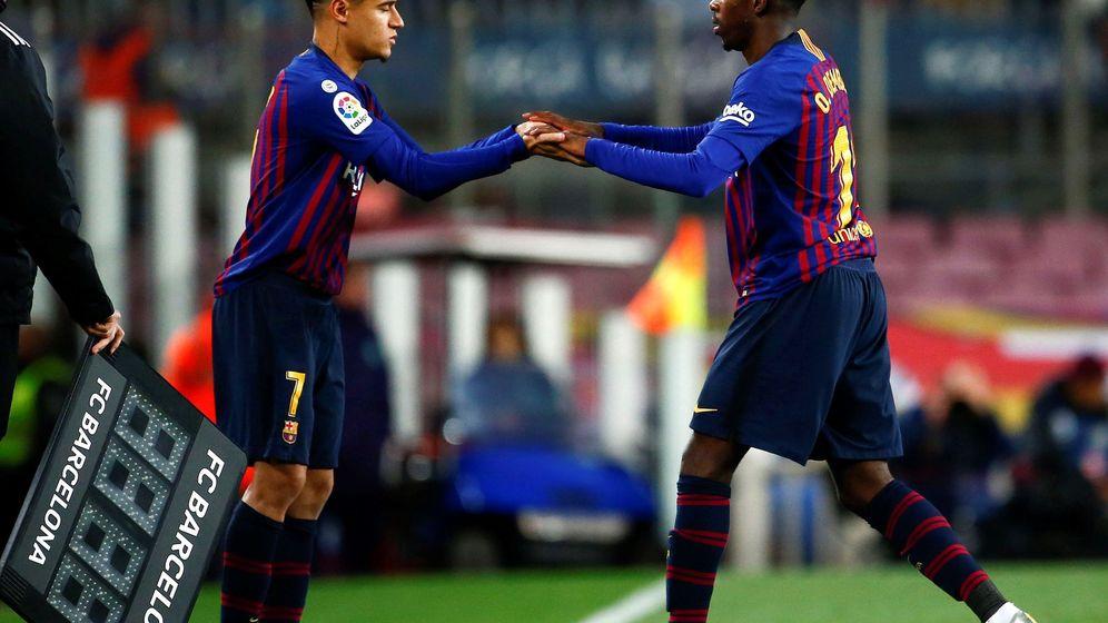 Foto: Coutinho (145 millones) y Dembélé (125), dos de los fichajes más caros del Barcelona. (EFE)
