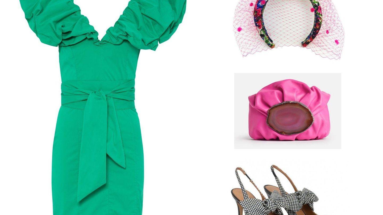 A un vestido monocolor le van complementos estampados.