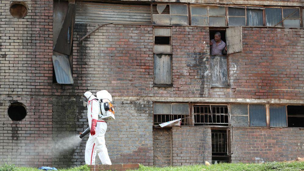 Foto: Un trabajador desinfecta los alrededores de una residencia en Sudáfrica. (Reuters)