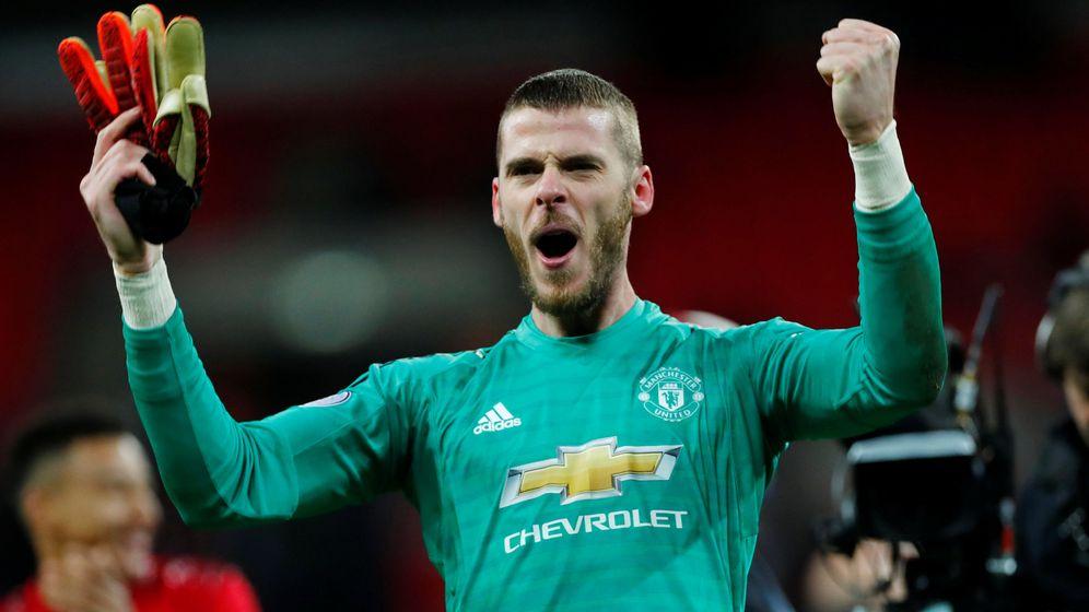 Foto: David de Gea celebra la victoria del Manchester United en Wembley. (Efe)