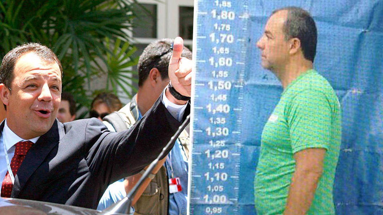 Foto: Sérgio Cabral, ex Gobernador de Río, en un acto político y en la ficha policial de su detención (Montaje: C. Castellón)