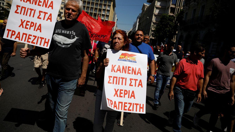 Foto: Miembros de la formación comunista PAME durante la huelga general en Atenas, mucho menos masiva que en ocasiones anteriores, el 30 de mayo de 2018. (Reuters)