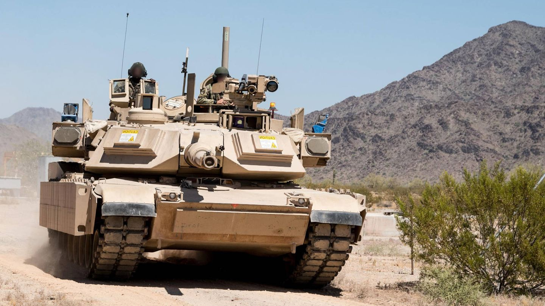 Abrams con blindaje modular y sistema Trophy (Rafael).
