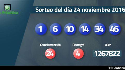 Resultados del sorteo de la Primitiva del 24 noviembre 2016: números 1, 6, 10, 14, 34, 46