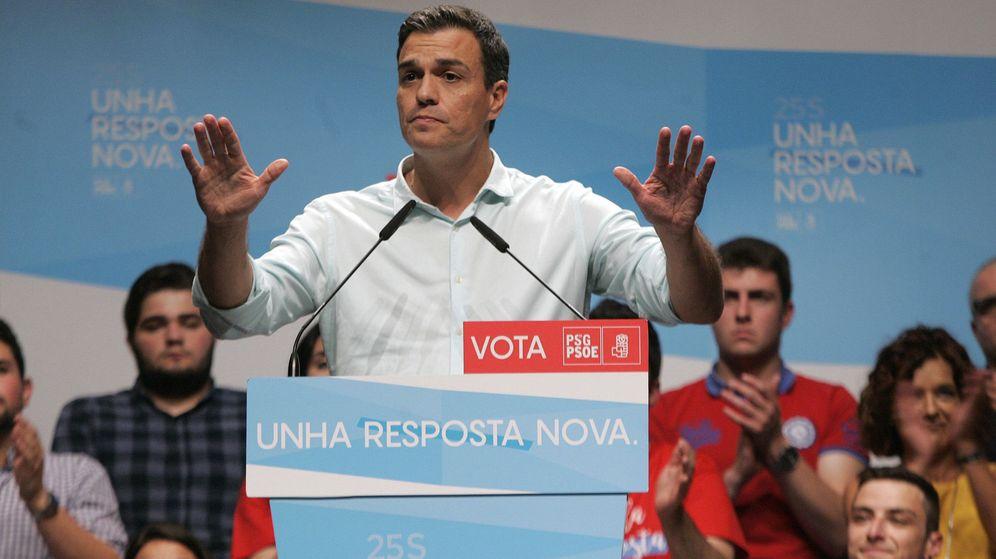 Foto: El secretario general del PSOE, Pedro Sánchez, en un mitin de campaña en Galicia. (Efe)