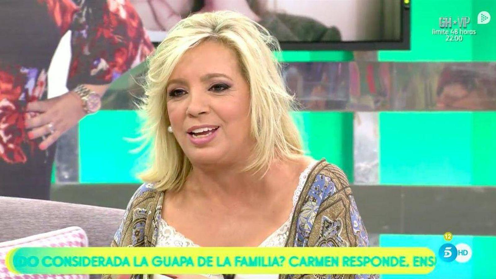 Foto: Carmen Borrego, en 'Sálvame'. (Telecinco)