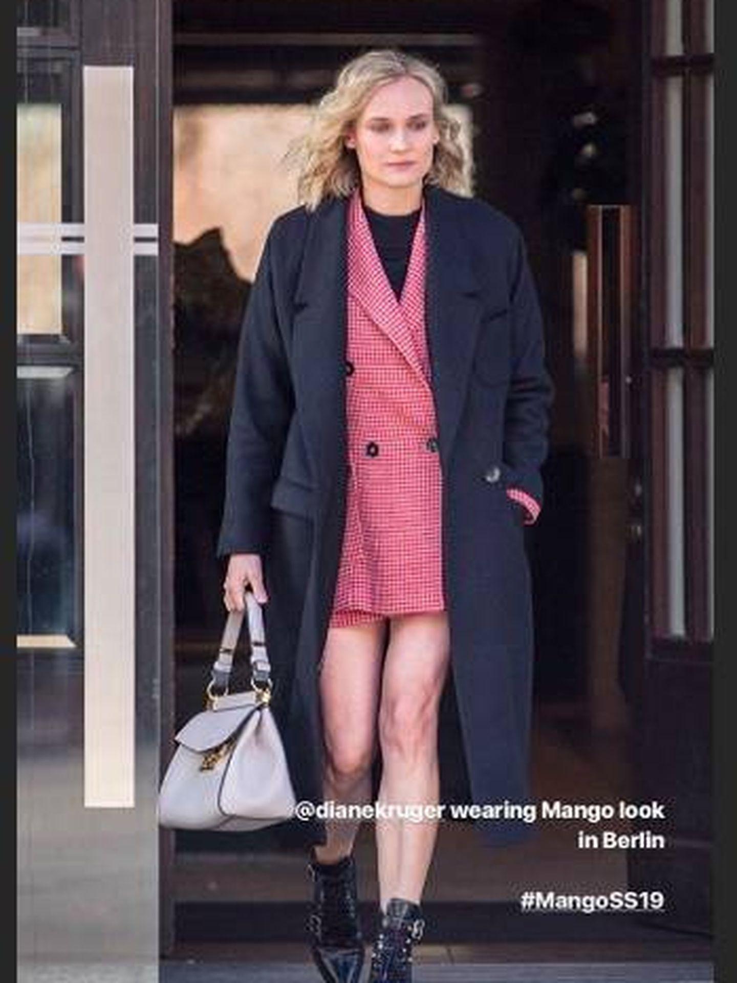 La actriz Diane Kruger con total look de Mango en un storie de la marca.  (Instagram)