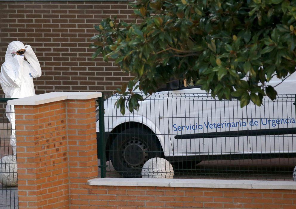 Foto: Uno de los técnicos del VIVASET a la entrada de la casa donde estaba Excalibur (Reuters)