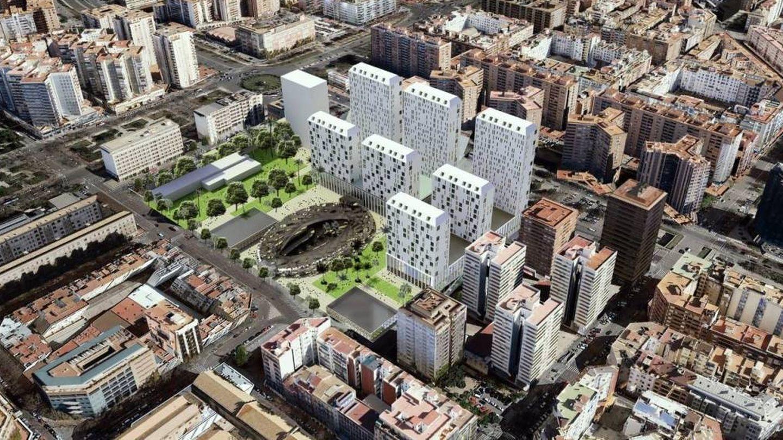 Proyecto pendiente de modificar de la parcela de Mestalla, con el centro comercial subterráneo abierto.