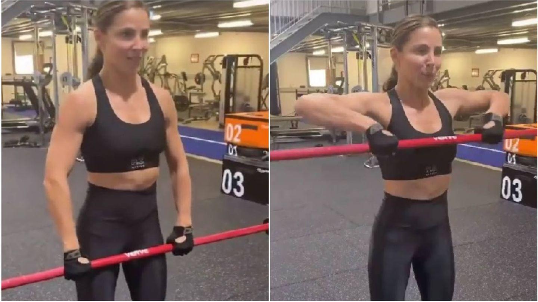 Elsa Pataky comparte su entrenamiento de brazos en sus stories de Instagram. (Instagram @elsapatakyconfidential)