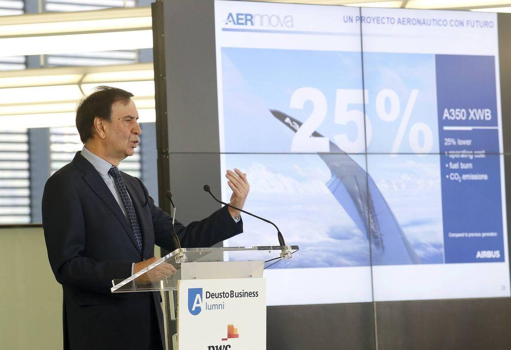 Foto: Iñaki López Gandasegui, presidente de Aernnova, durante su intervención en Deusto Businnes Alumni. (EC)