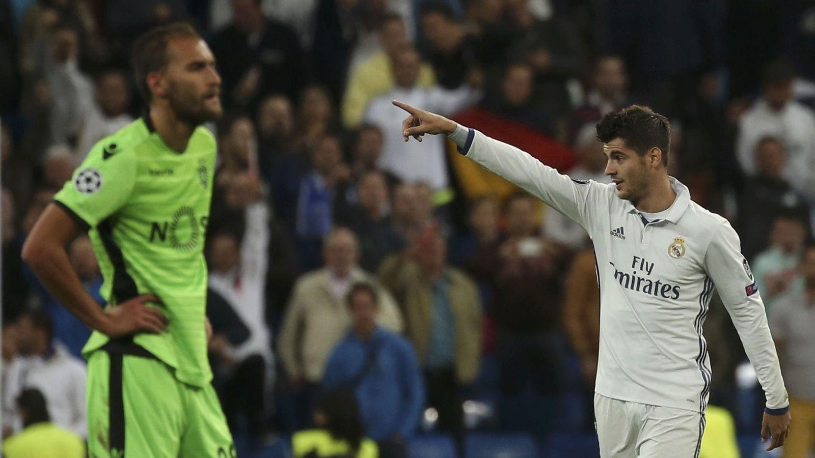 Foto: Morata celebra su gol al Sporting de Portugal en la Champions. (REUTERS)