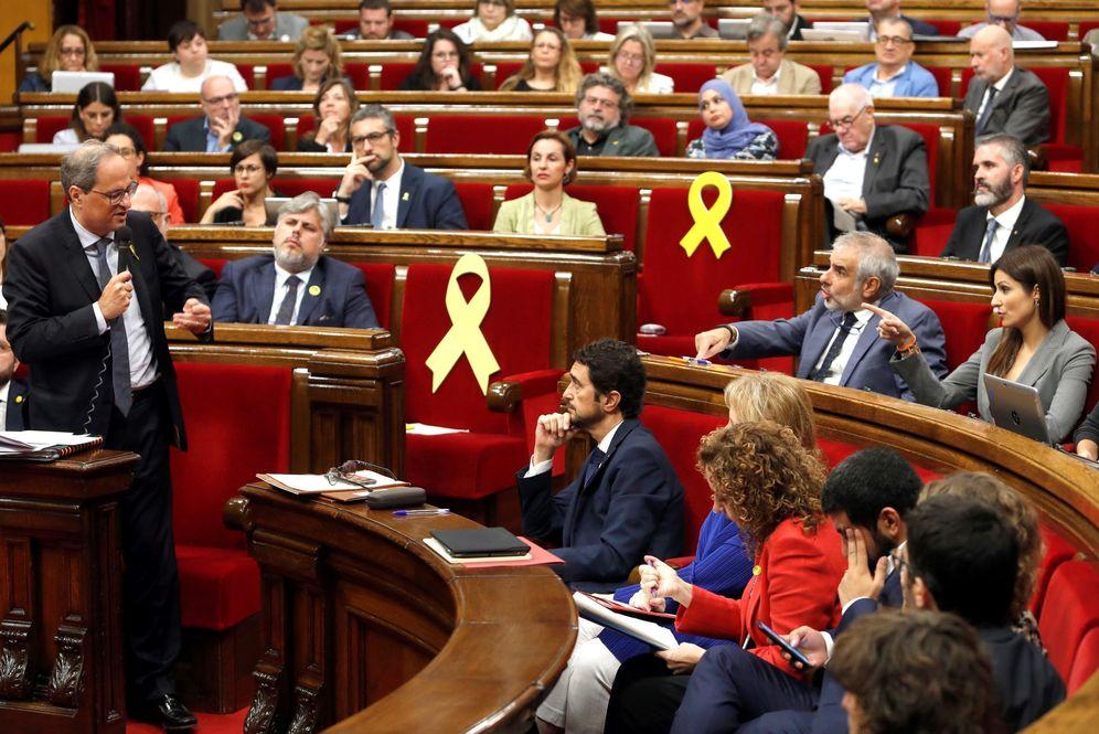 Foto: El 'president', Quim Torra, durante la sesión de control al Govern del pasado 9 de octubre. (EFE)