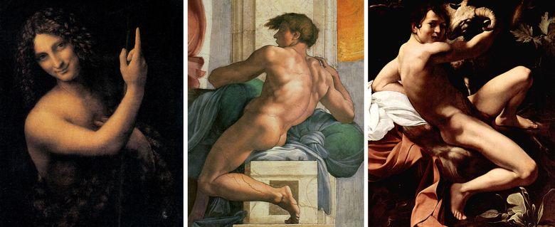 Foto: San Juan Bautista, de Da Vinci; detalle de la Capilla Sixtina, de Miguel Ángel; y San Juan Bautista (o Joven con cordero),  de Caravaggio.