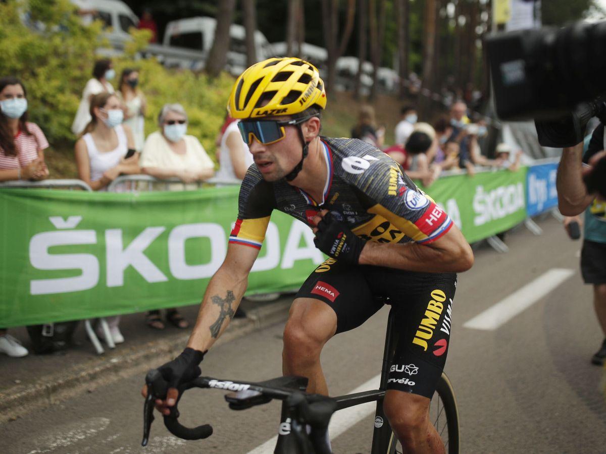 Foto: Roglic en acción durante la séptima etapa. (Reuters)