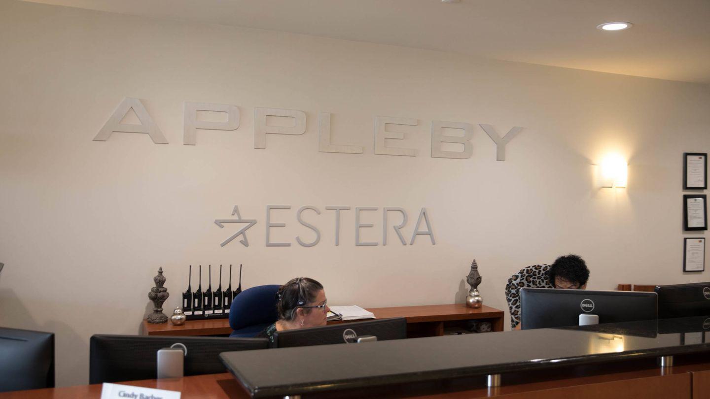Recepción de las oficinas de Appleby en Bermudas. (Hidefumi Nogami, The Asahi Shimbun, Japón)