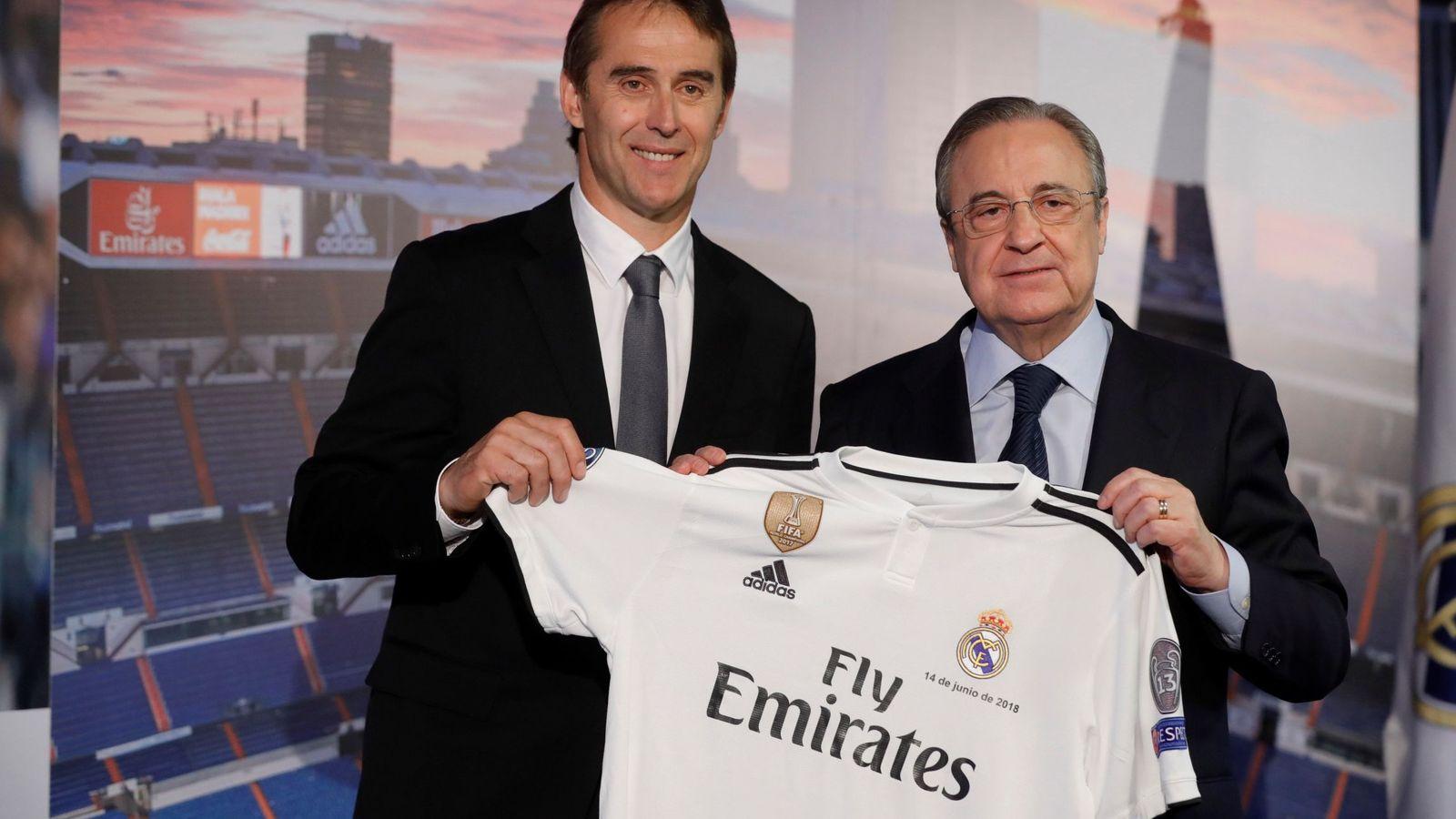 Foto: Julen Lopetegui, con Florentino Pérez, en su presentación como entrenador del Real Madrid. (EFE)