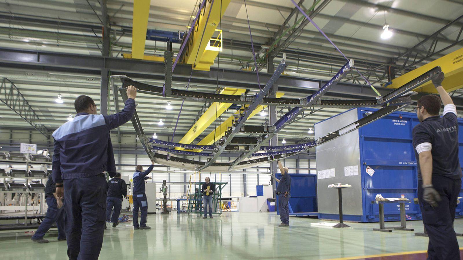 Foto: Estructura de la panza del A350 en una planta de Alestis. (Alestis Aerospace)
