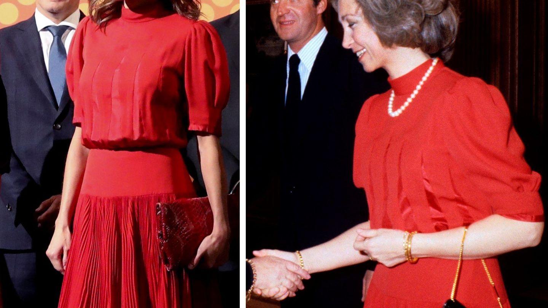 La reina Letizia, en 2018, y la reina Sofía, en 1982 con el mismo vestido. (EFE)