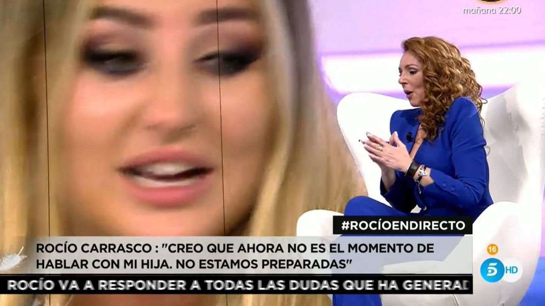 Rocío escuchó el testimonio de su hija en el programa de Ana Rosa. (Mediaset)