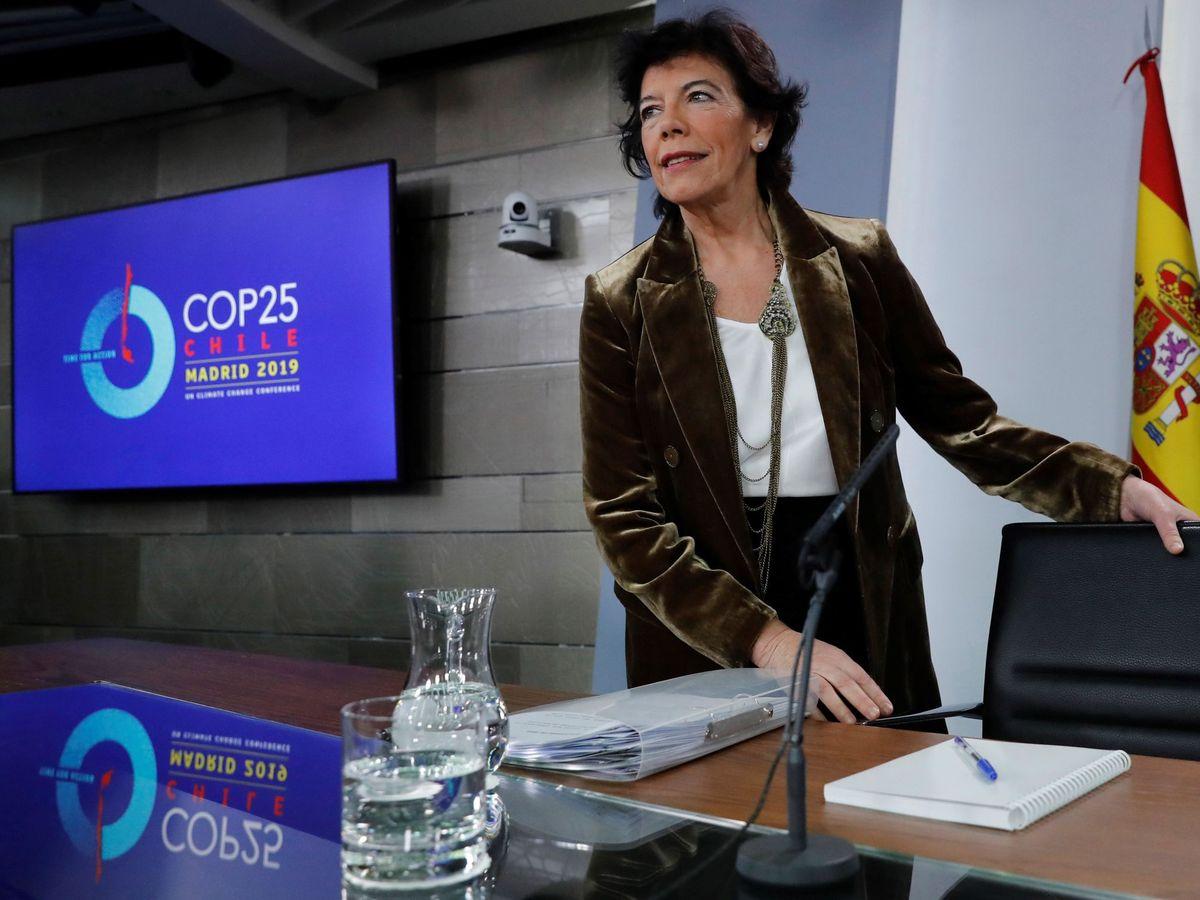 Foto: La portavoz del Gobierno en funciones, Isabel Celaá, este 29 de noviembre en la Moncloa. (EFE)
