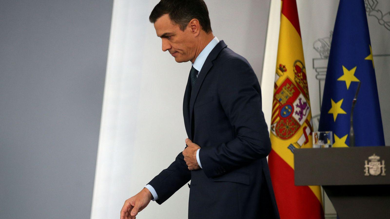 Foto: Pedro Sánchez, tras su comparecencia extraordinaria de este 26 de enero en la Moncloa. (Reuters)