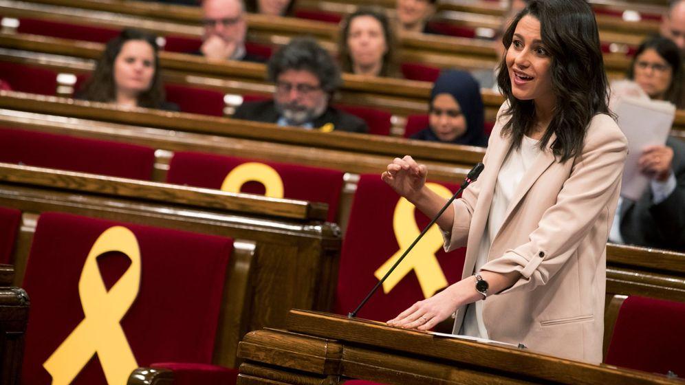 Foto: La líder y portavoz de Ciudadanos en Cataluña, Inés Arrimadas, durante su intervención en el pleno. (EFE)
