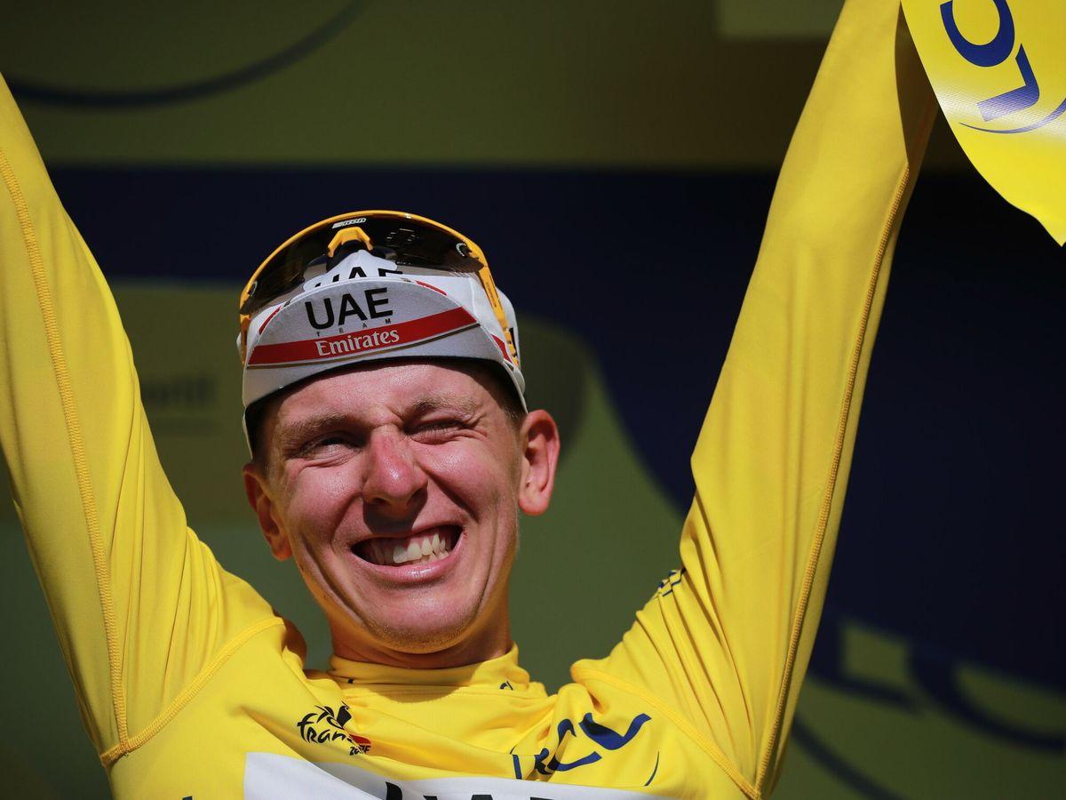 Foto: Pogacar, tras ganar la vigésima etapa. (EFE)
