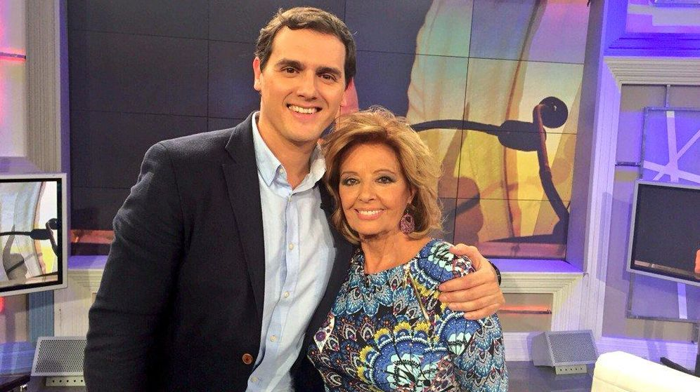 Foto: Albert Rivera y María Teresa Campos, el pasado sábado, en Telecinco. (EC)