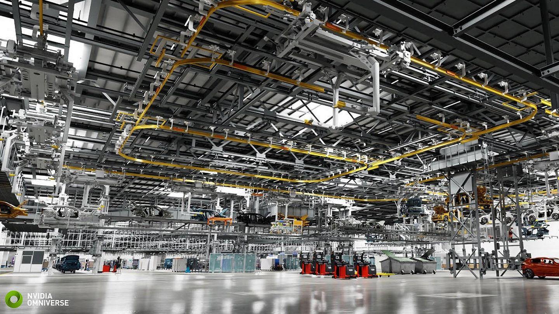 Esta fábrica de BMW no es real, pero ahorra millones a la compañía. (BMW/Nvidia)
