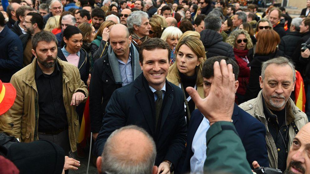 Foto: El presidente del PP, Pablo Casado, durante la concentración. (EFE)