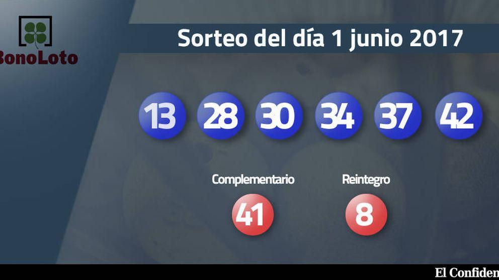 Resultados de la Bonoloto del 1 junio 2017: números 13, 28, 30 ,34, 37, 42