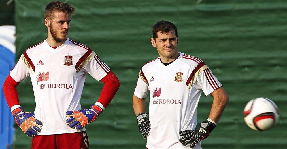 Foto: Casillas y De Gea, durante un entrenamiento de la Selección española (EFE)